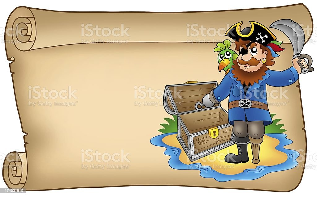Old scroll with pirate royalty-free stock photo