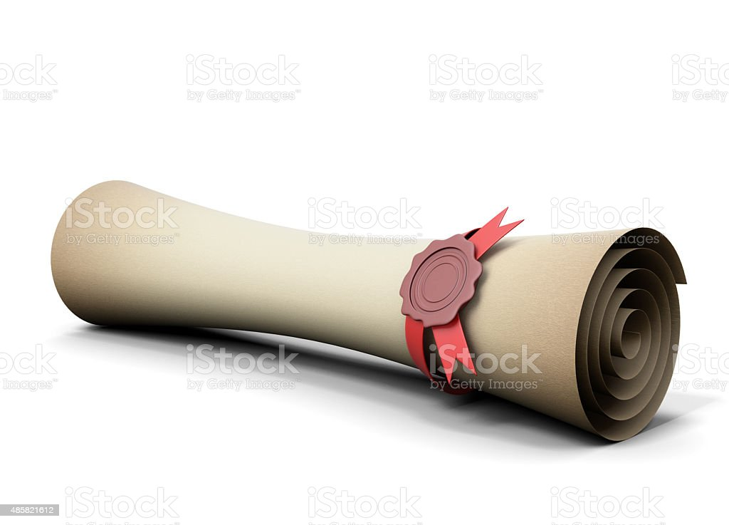 Old scroll with seal wax close-up stock photo
