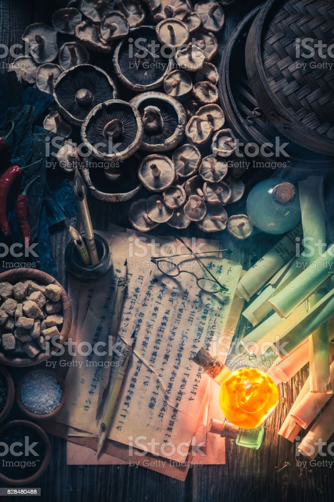 Old scrolls and recipe in vintage research lab stock photo