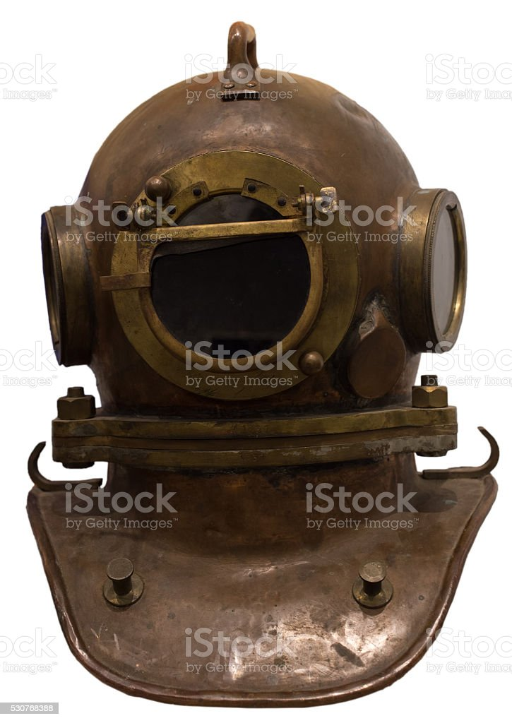 Old scuba gear isolated stock photo