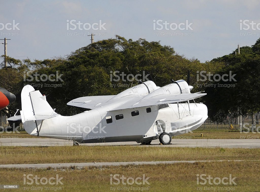 Old seaplane stock photo