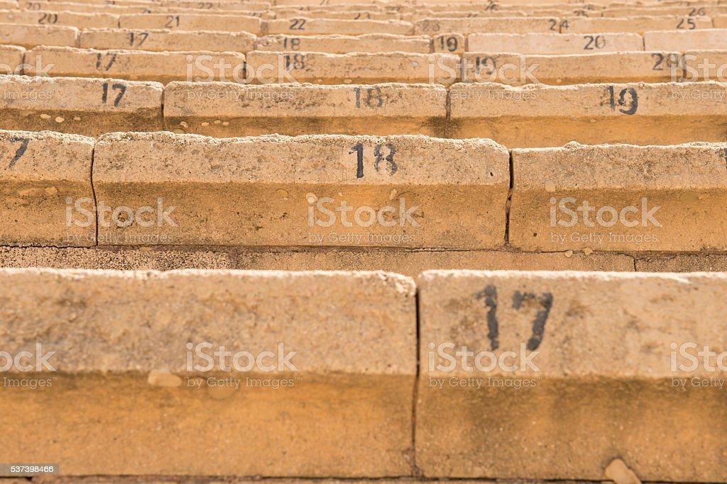 Old seats of Cesarea stock photo