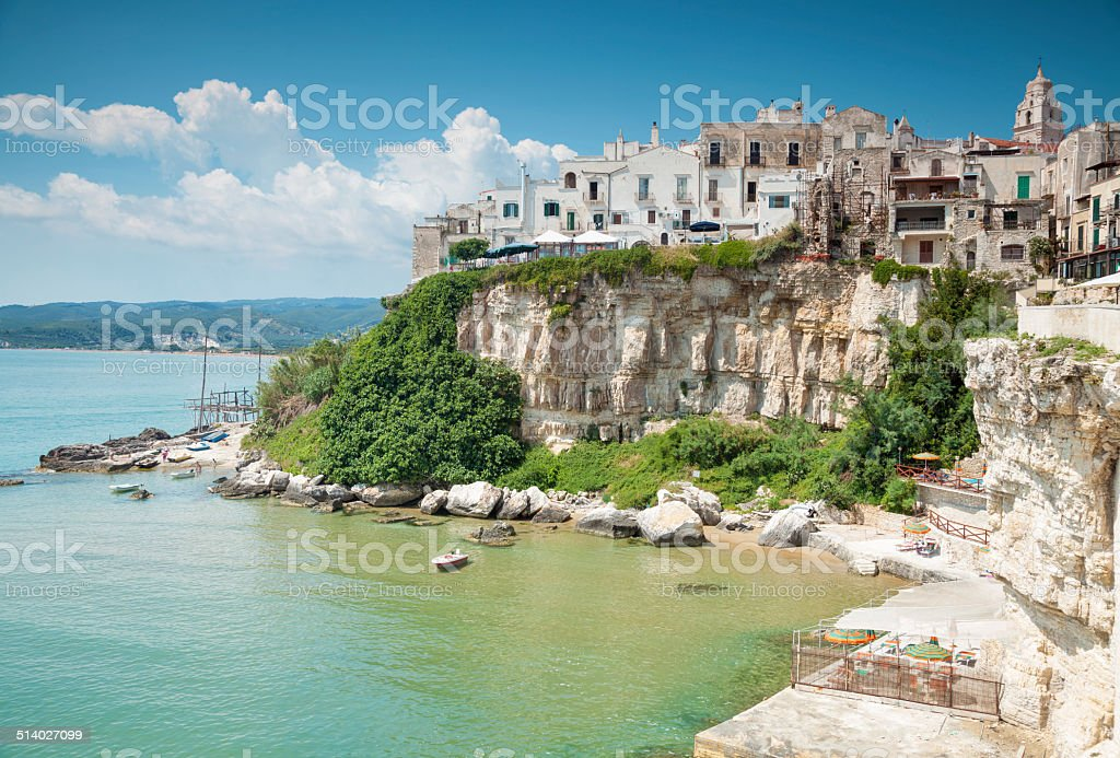 Old seeside town of Vieste in Italy stock photo
