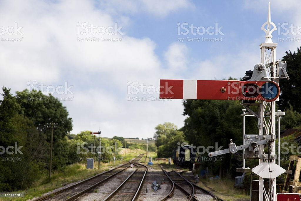 Old Semaphor Railway Signal on a heritage line in England royalty-free stock photo