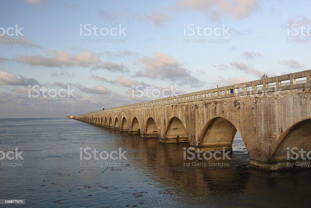 Old Seven Mile Bridge over the sea stock photo