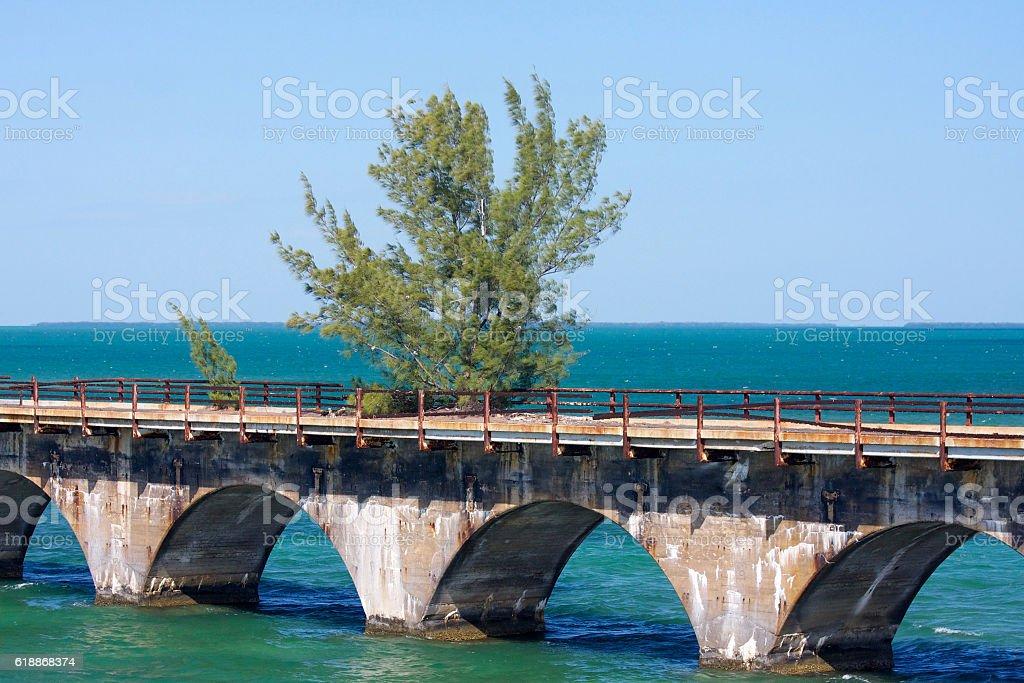 Old seven mile bridge stock photo