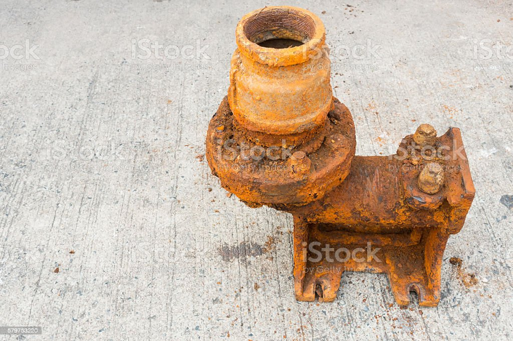 Old sewage pump and rust corrosion. stock photo
