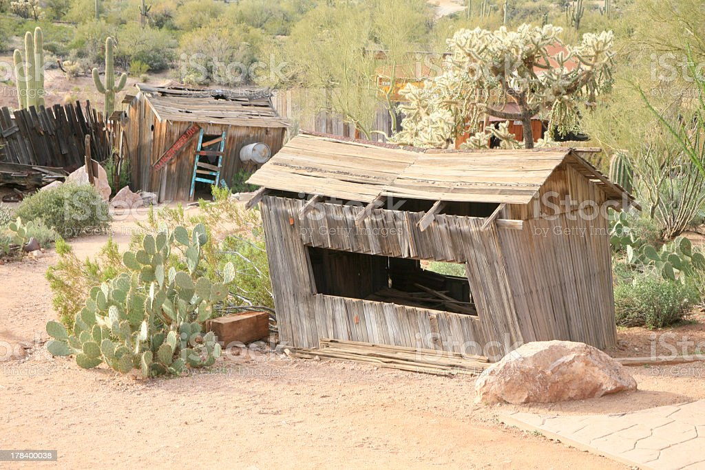 Old Shack in Desert, Goldfield Ghost Town, Arizona, USA, stock photo