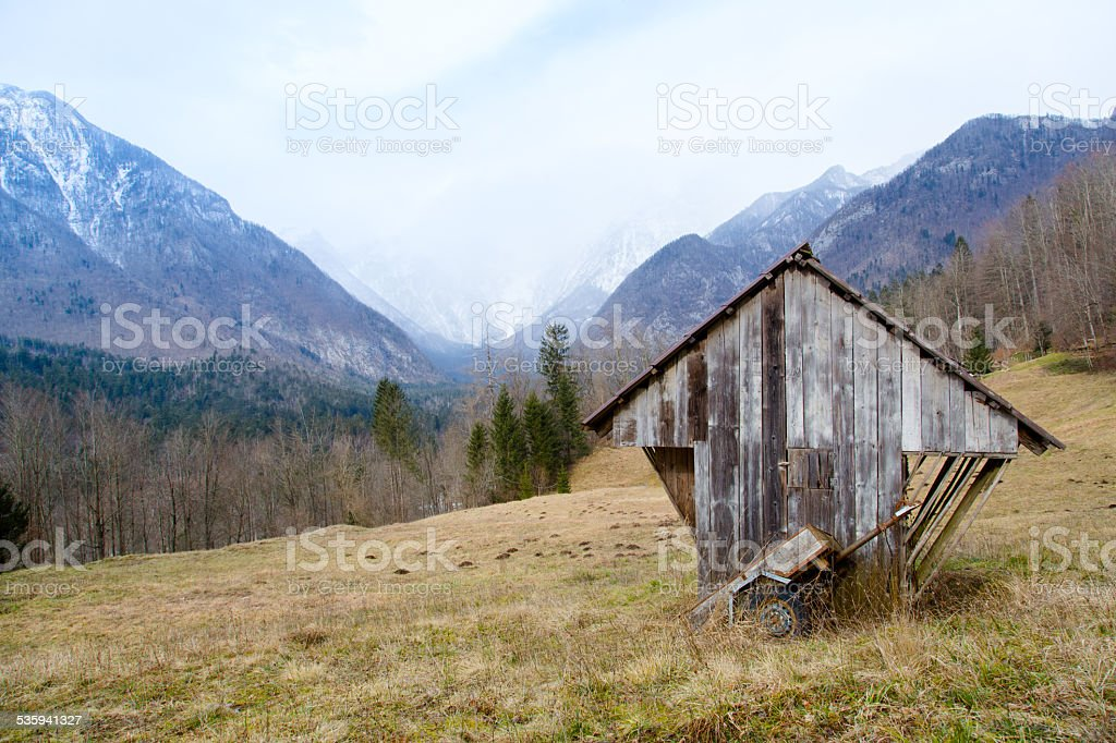 Old shed in Alps stock photo