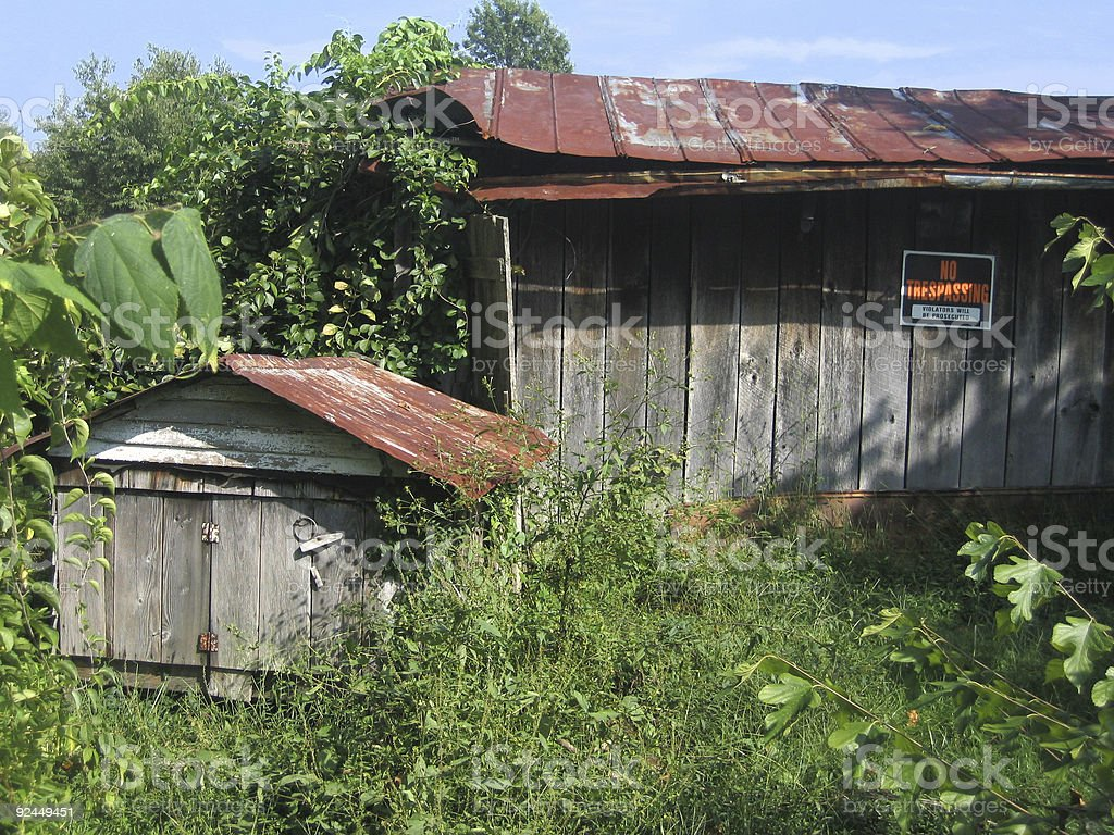 Old Sheds with No Trespassing Sign royalty-free stock photo