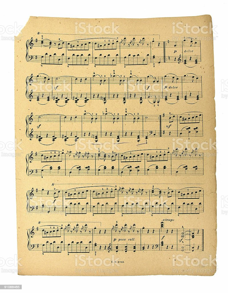 Old Sheet Music stock photo