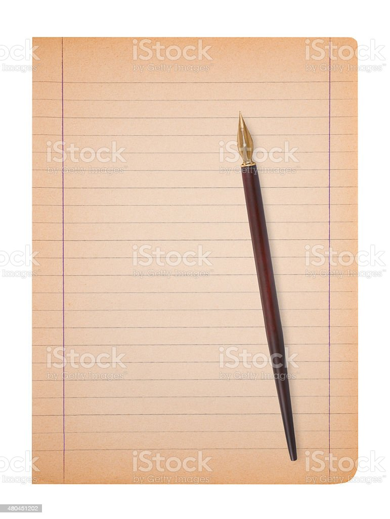 Old sheet with pen stock photo