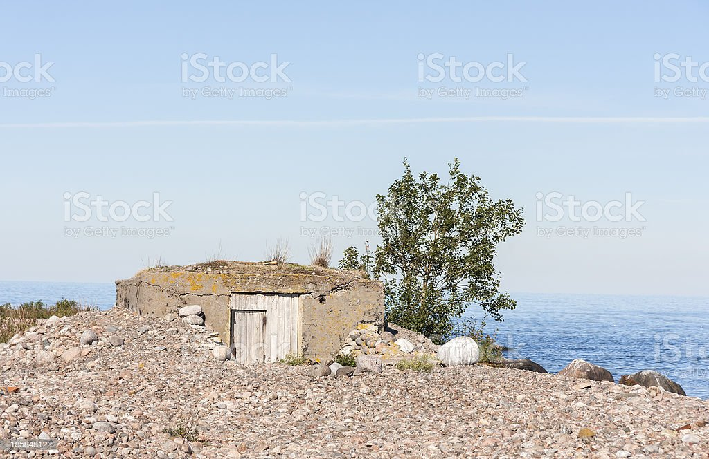 Old shelter in ground stock photo