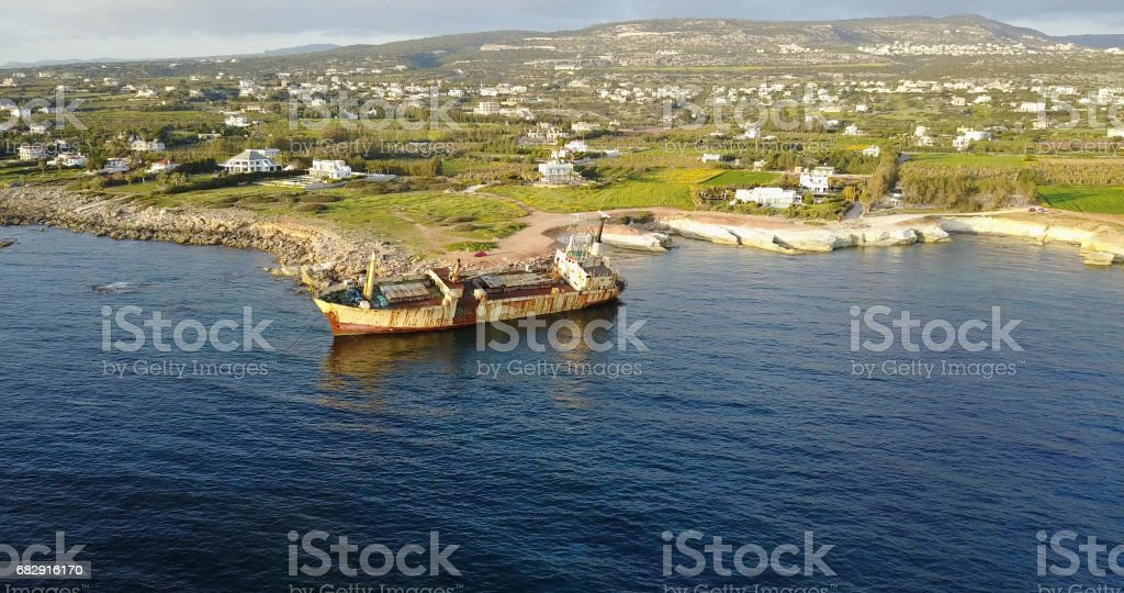 Old ship after the accident. Mediterranean Sea. seascape with birds stock photo