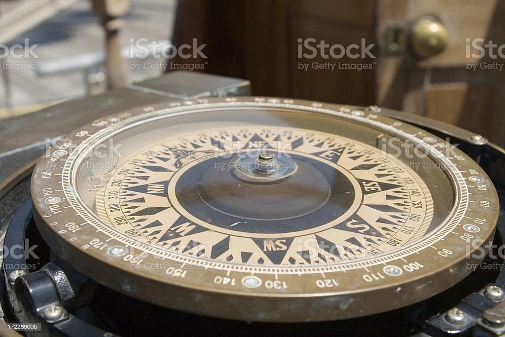 old ship compass royalty-free stock photo