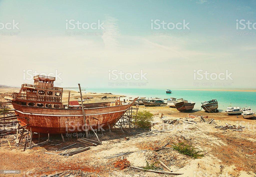Old ship factory. Qeshm island, Iran stock photo