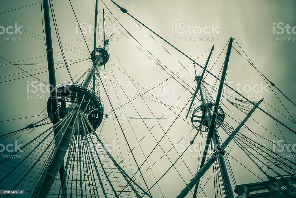 old ship mast vintage stock photo