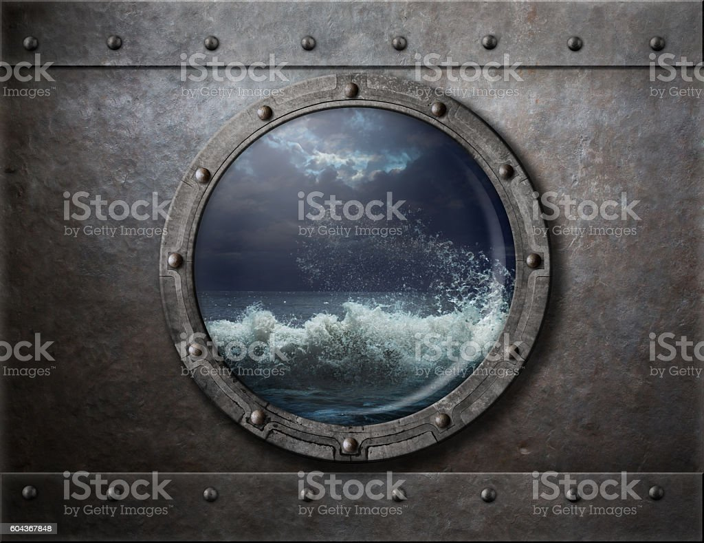 old ship metal porthole or window with sea storm stock photo