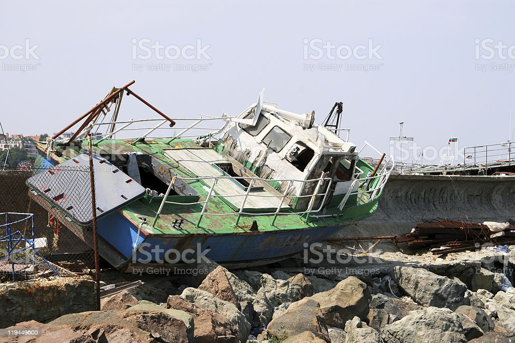 old ship stock photo