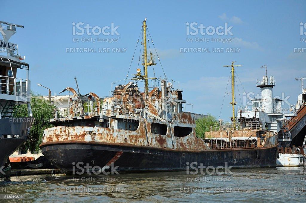 Old ship standing in Sulina port, Romania stock photo