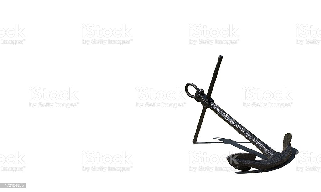 Old ships anchor with shadow isolated on a white background stock photo