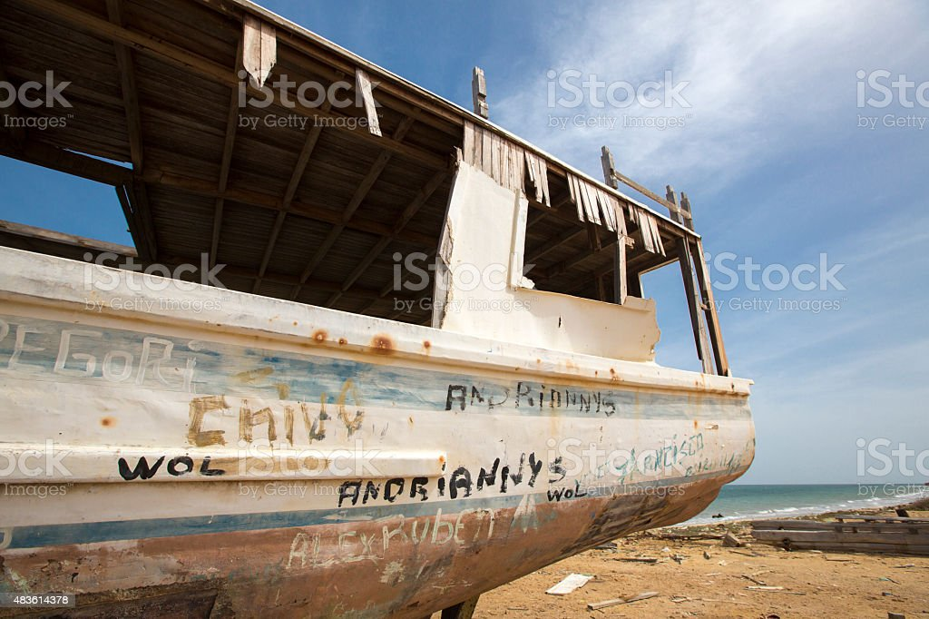 Old shipwreck standing on the beach, Venezuela stock photo