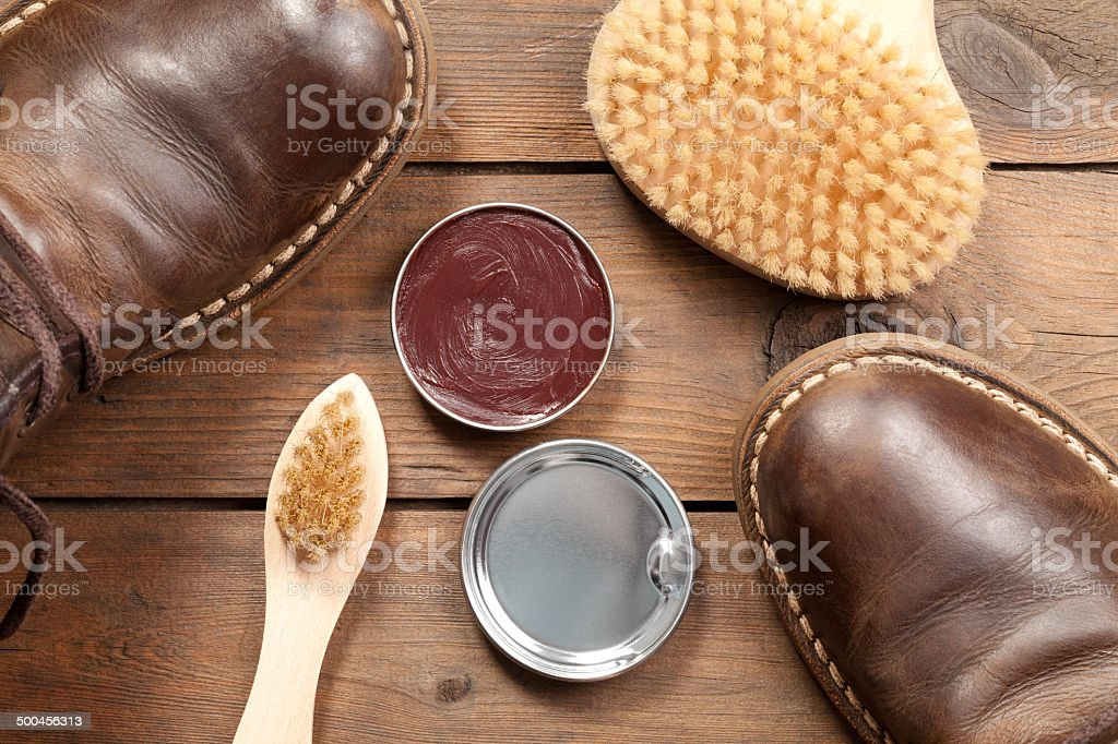 Old shoes and Shoe polish royalty-free stock photo