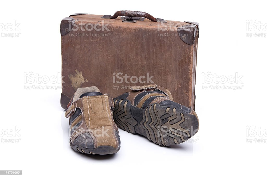 old shoes and suitcase XXXL royalty-free stock photo
