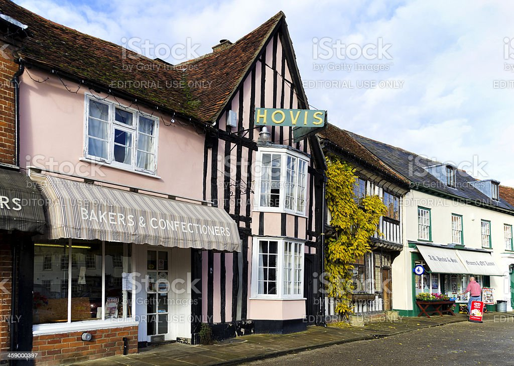 Old shops in the market place, Lavenham royalty-free stock photo