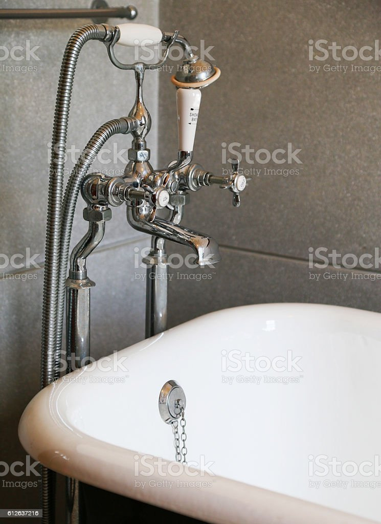 Old shower metal fittings stock photo