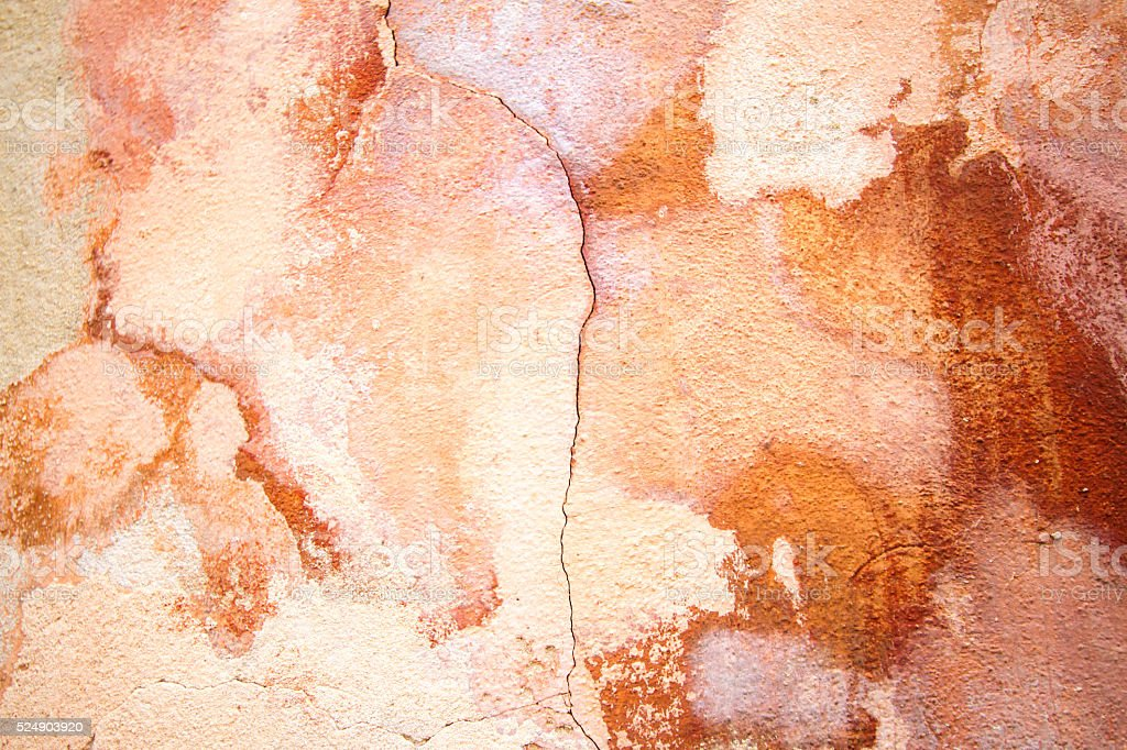 Old Sicilian Grungy Mottled Wall Background Texture: Pinkish-Orange stock photo