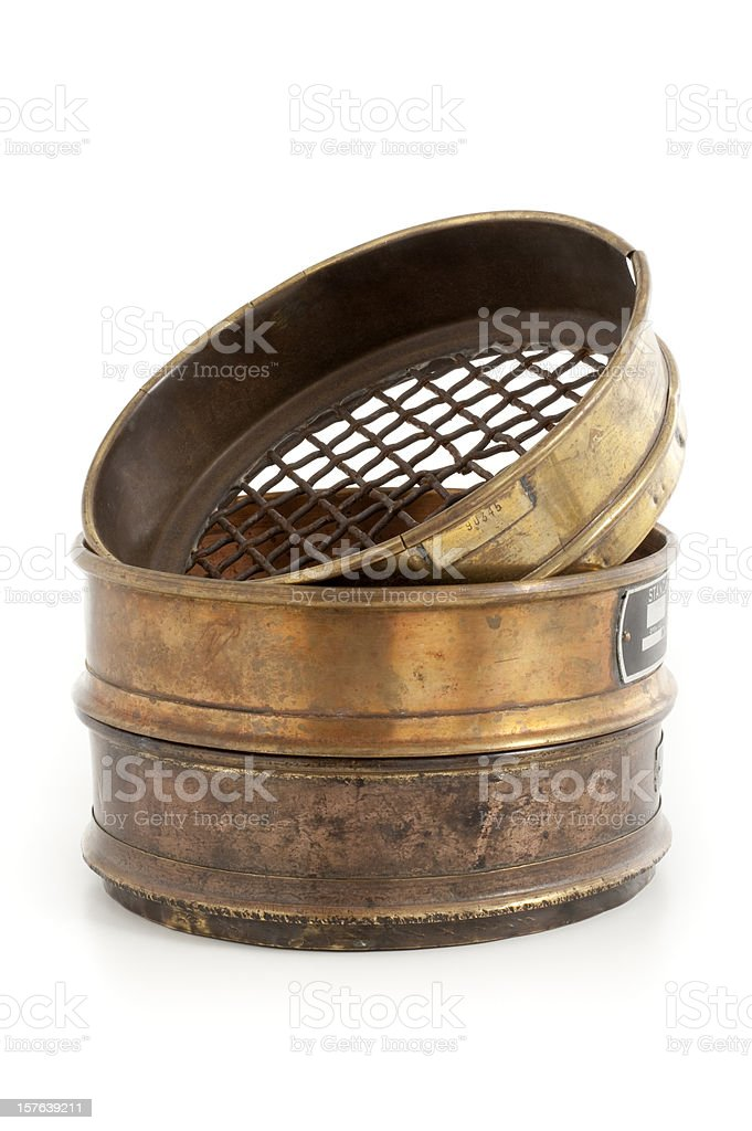 old sieve for gold mining stock photo