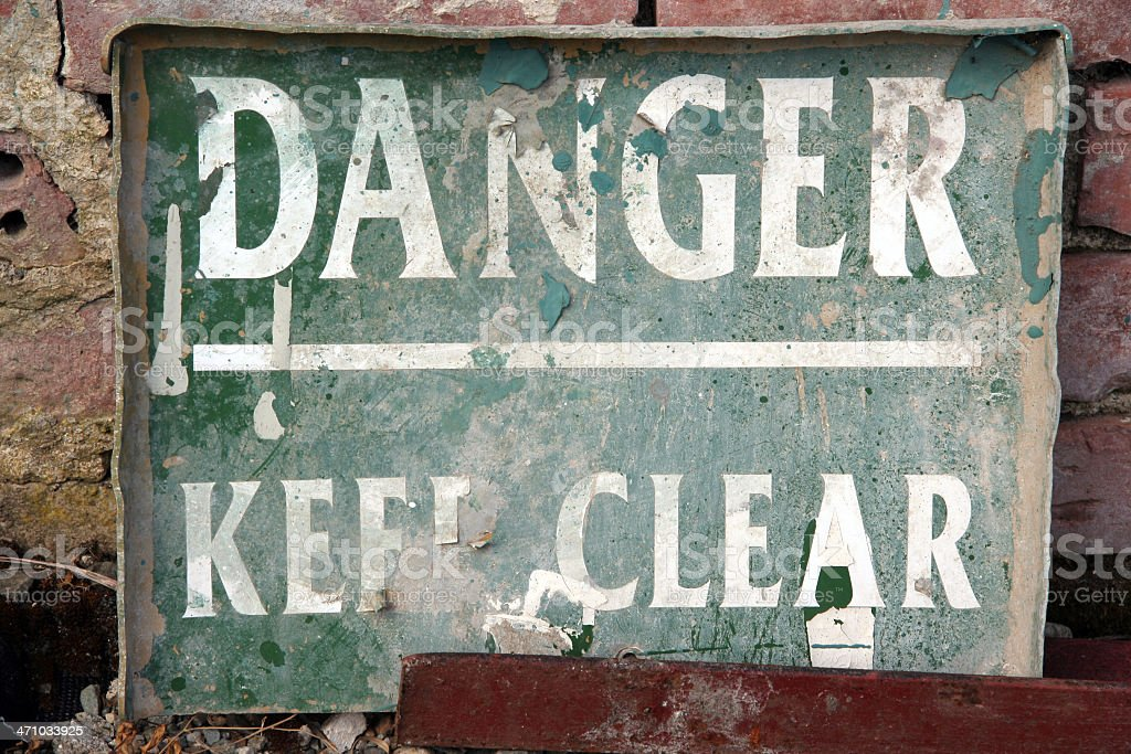 Old sign 'Danger' royalty-free stock photo