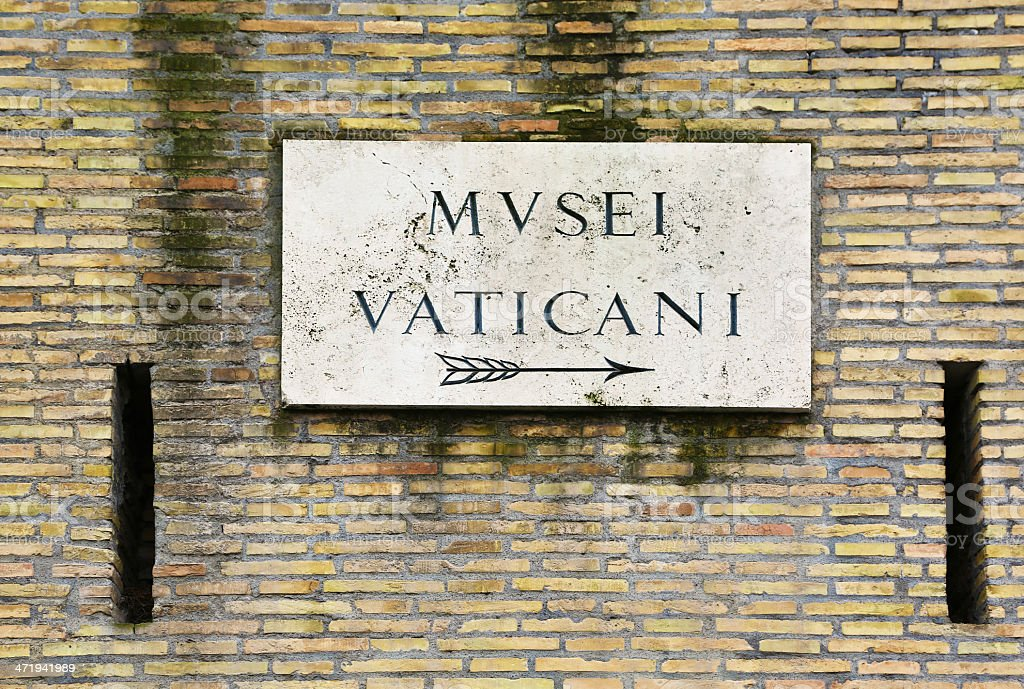 Old sign indicating direction to Vatican Museums, Rome stock photo