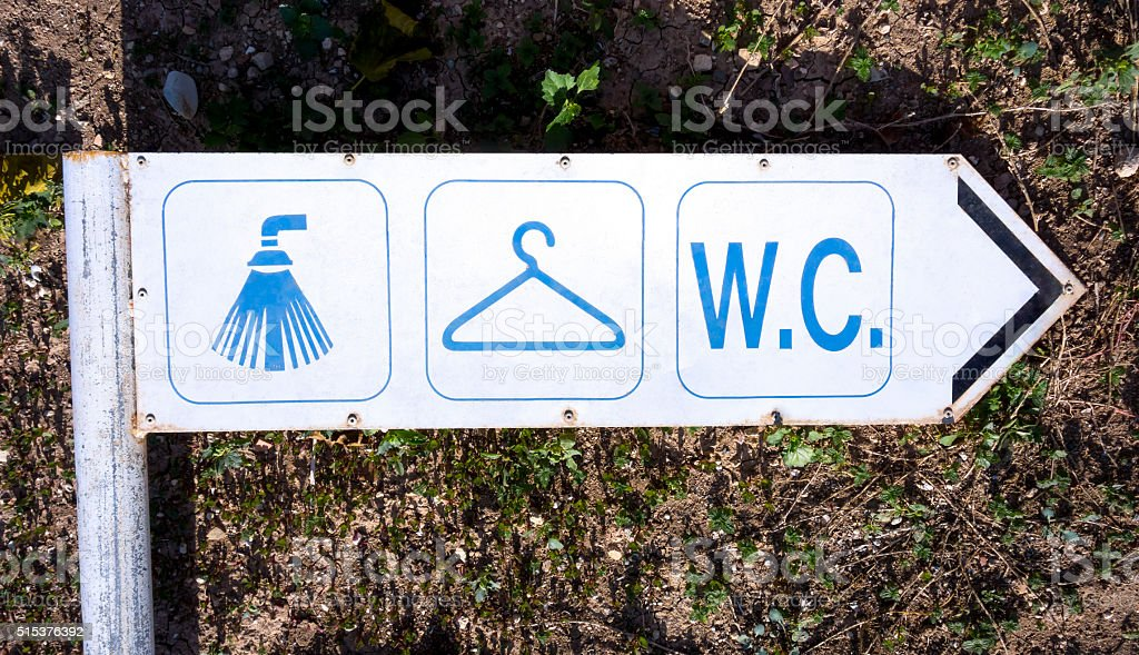 Old sign shower, changing room and WC stock photo