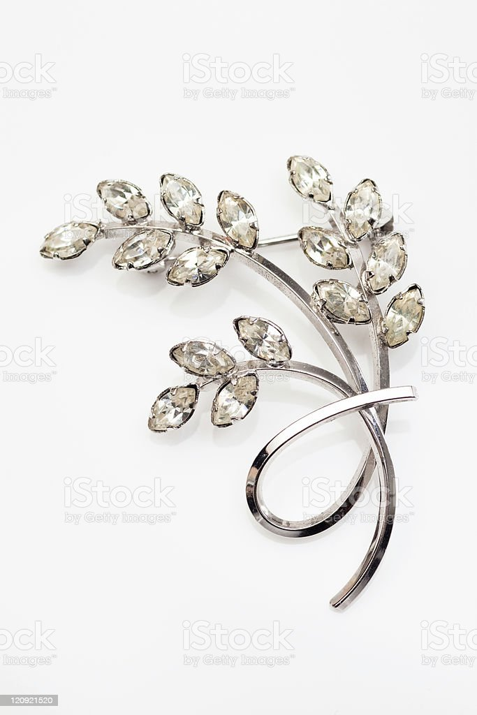 Old silver and diamond vintage brooch stock photo
