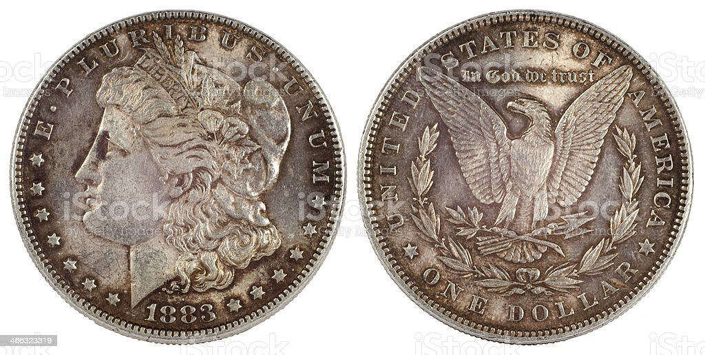 old silver coin dollar of usa 1883 year stock photo
