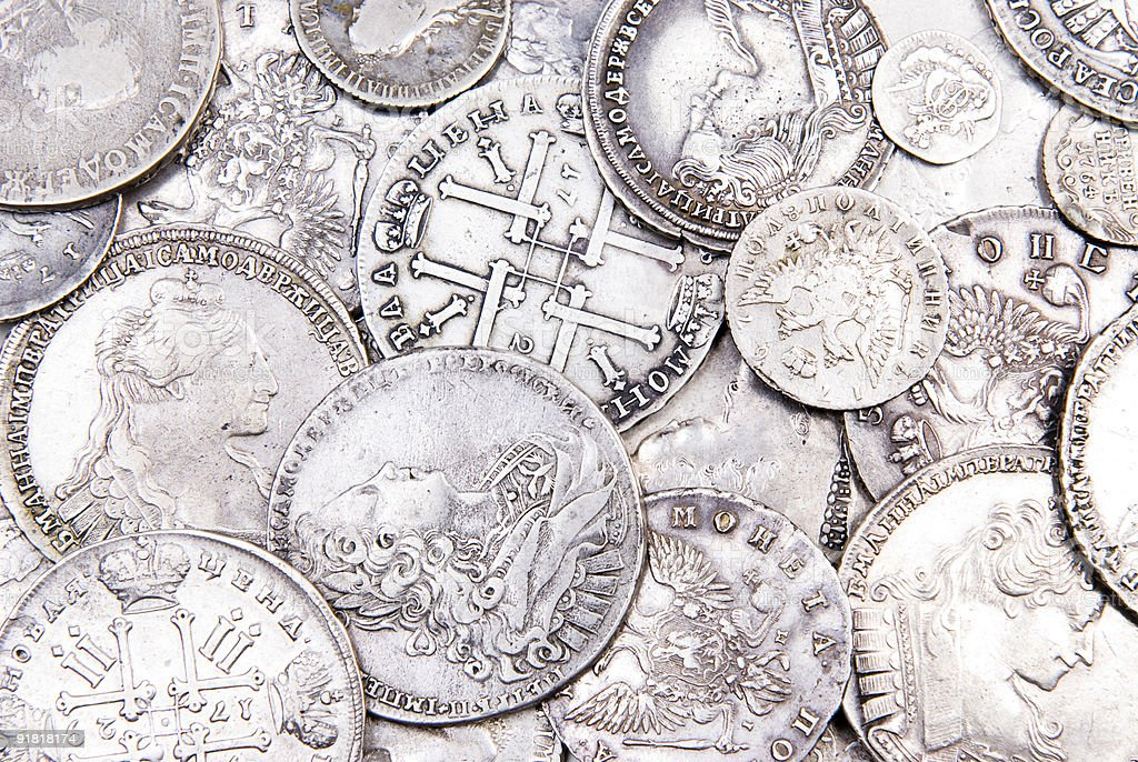 Old silver coins background royalty-free stock photo