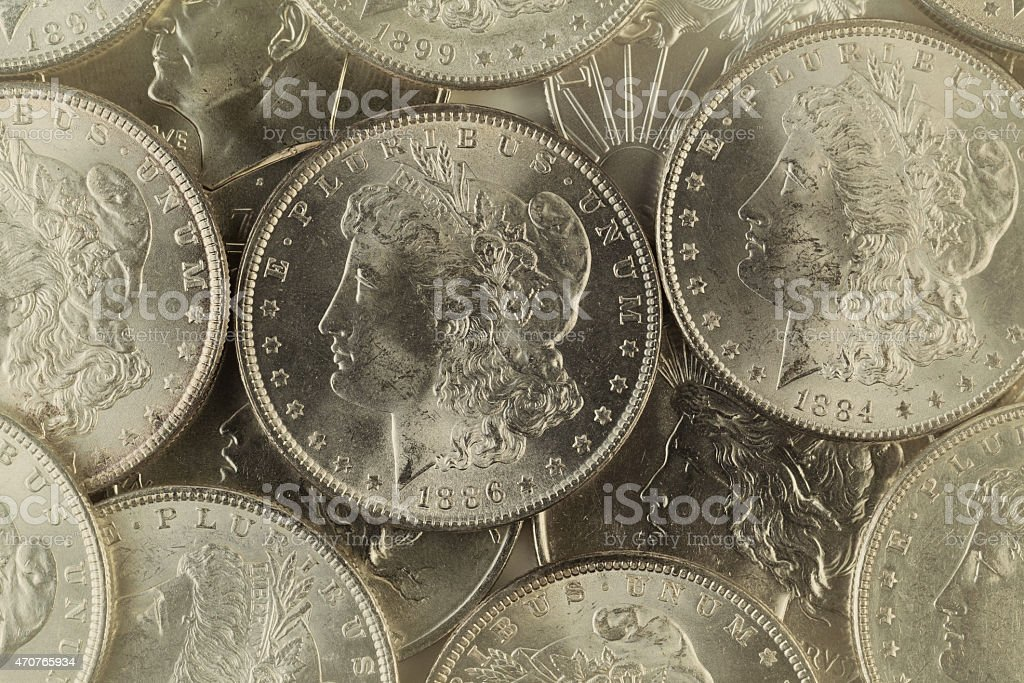 Old Silver coins from United States stock photo