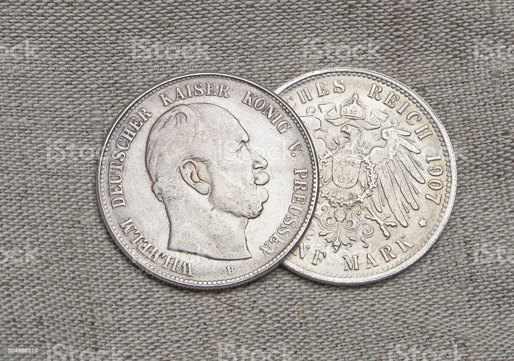 Old silver coins of German reich stock photo