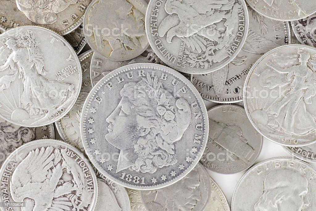 Old Silver Coins stock photo