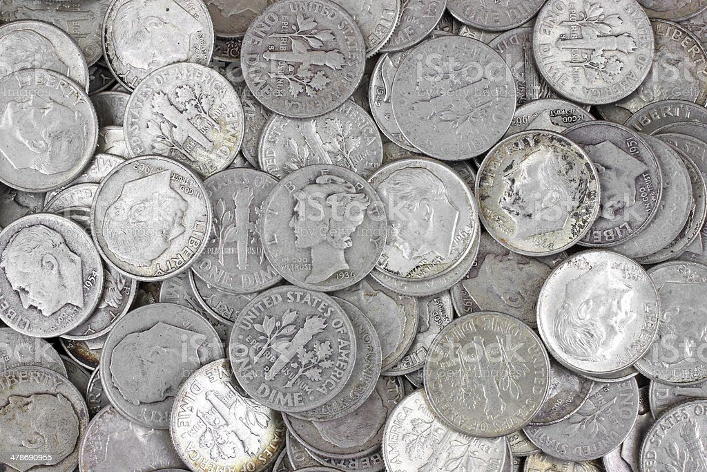 Old silver dimes stock photo