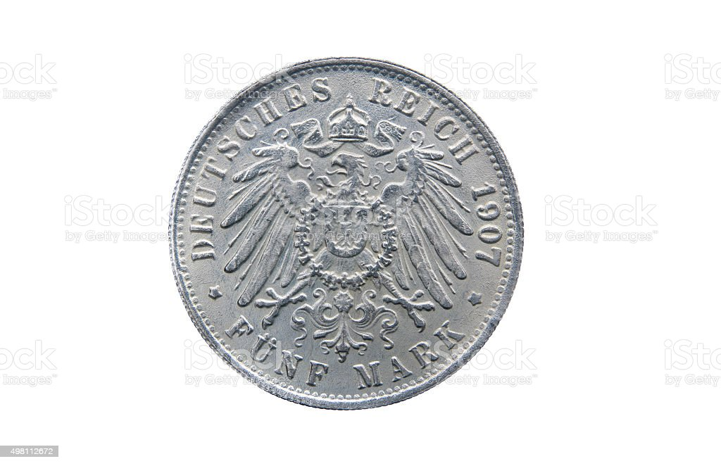 Old silver five mark of German Reich stock photo