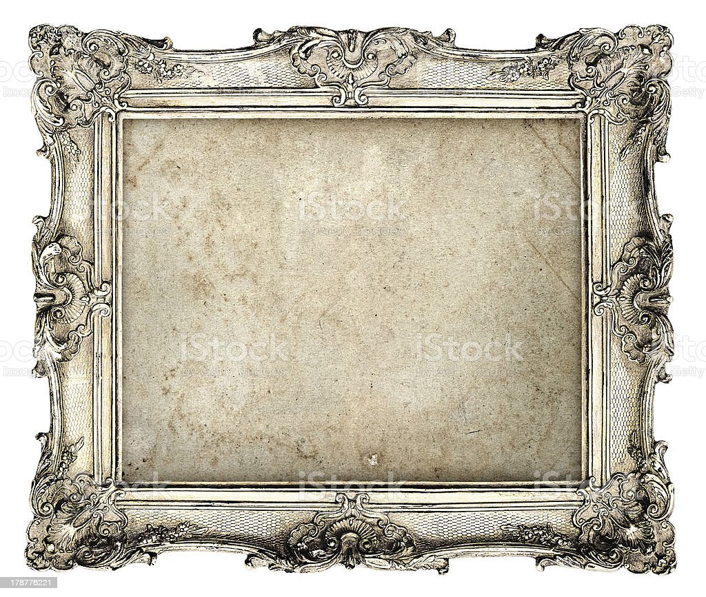 old silver frame with empty grunge canvas stock photo