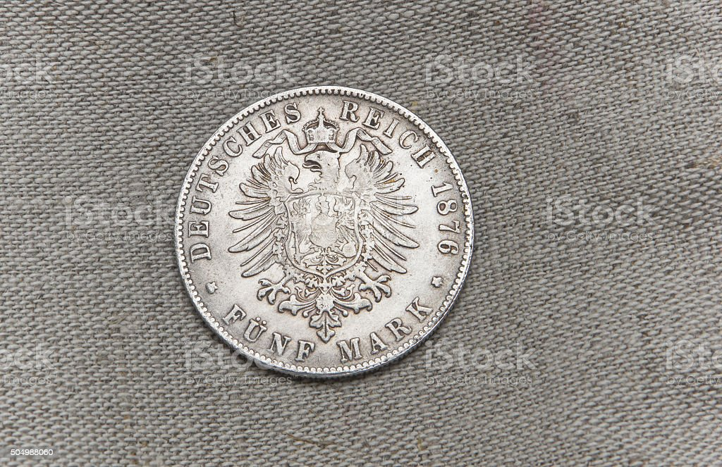 Old silver German reichfive mark stock photo