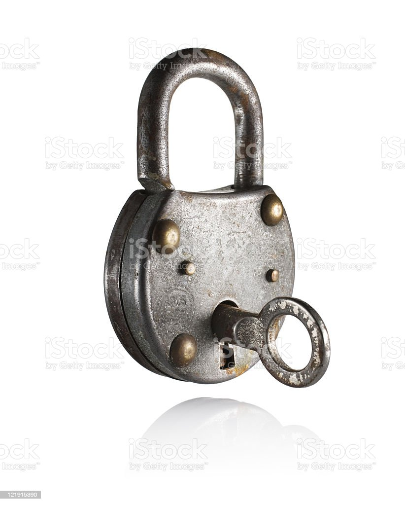 Old silver lock and key isolated on white stock photo