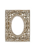 Old silver picture frame isolated on white background