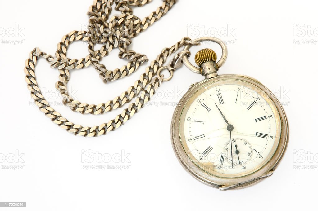 Old silver pocket watch. stock photo