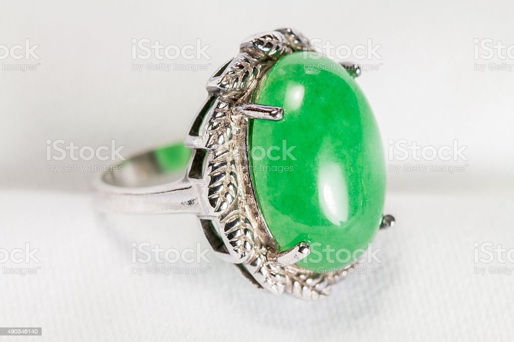Old Silver Ring with Jade. stock photo