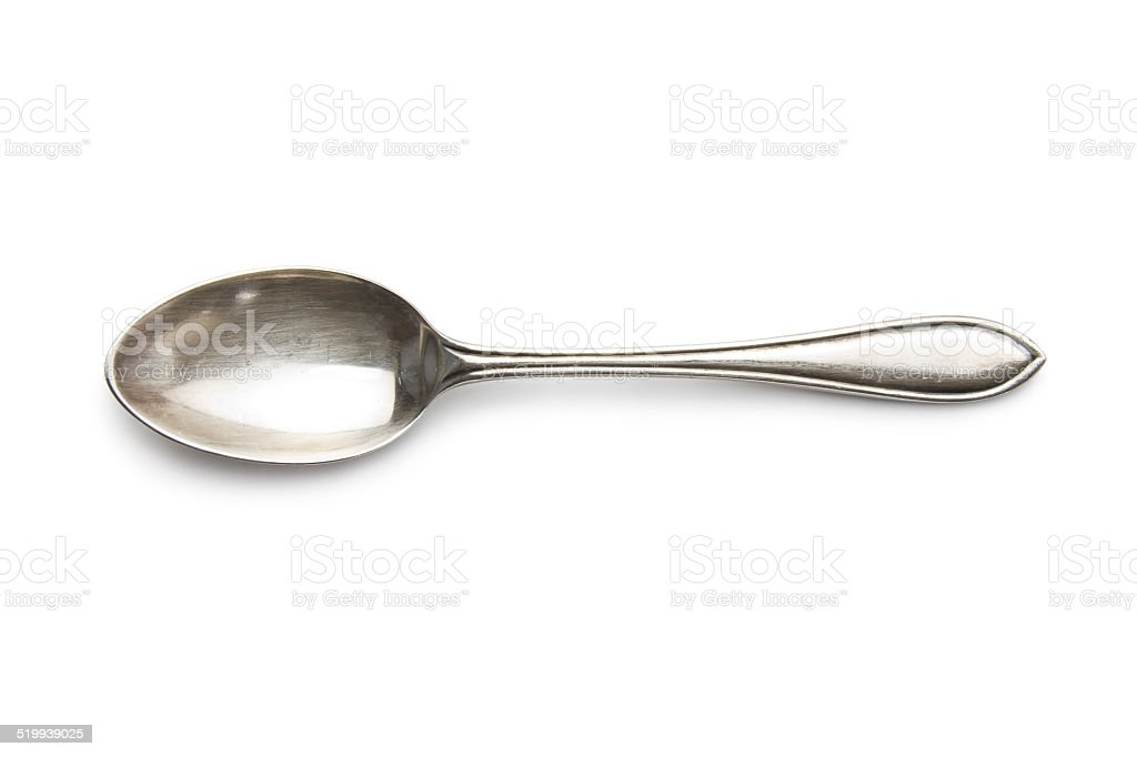 old silver spoon stock photo